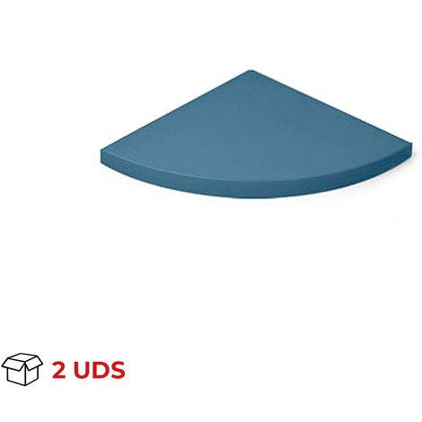 Caja con 2 estantes esquinero de DM, con estilo clásico, acabado en azul y 250 mm de profundidad