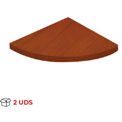 Caja con 2 estantes esquinero de madera, con estilo clásico, acabado en cerezo y 350 mm de profundidad.