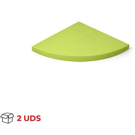 Caja con 2 estantes esquinero de plástico, de estilo juvenil, acabado en verde y 250 mm de profundidad.