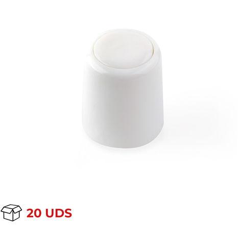 Caja con 20 topes de puerta para suelo o pared atornillable marca REI, fabricado en plástico, con acabado blanco y fo