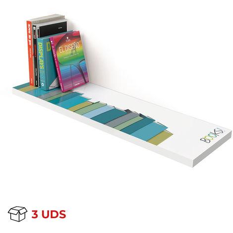 Caja con 3 estantes atamborados rectangular de DM, de estilo juvenil, con un motivo de libros y 250 mm de profundidad.