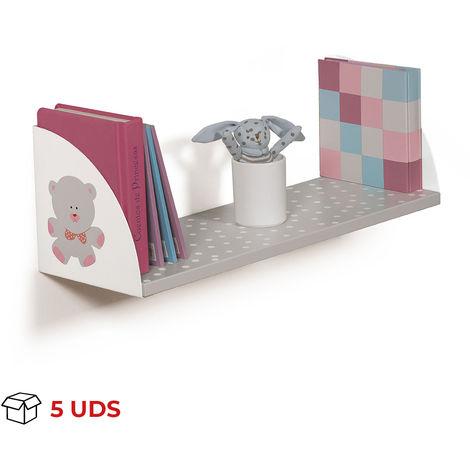Caja con 5 estantes de madera y soportes rectangular, fabricado en DM y acero, con un motivo de osos y estilo infantil.