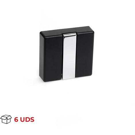 """main image of """"Caja con 6 colgadores plegables moderno atornillable, fabricado en zamak, madera y plástico, con acabado negro y 1 percha"""""""