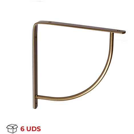 Caja con 6 escuadras para estantes BELLY: de estilo decorativo, fabricada en acero y con acabado bronce.