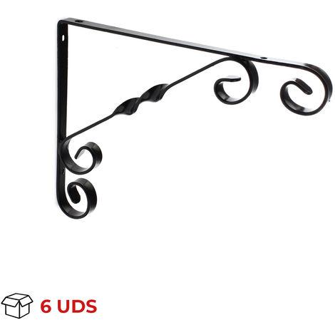 Caja con 6 escuadras para estantes con estilo decorativo, fabricada en acero y con acabado negro.