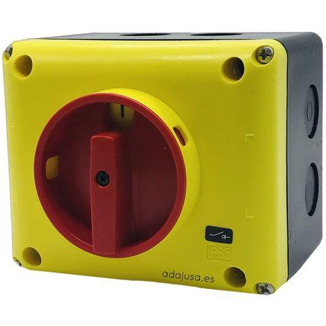 Caja con interruptor tetrapolar 25A (4 polos) amarillo-rojo - Giovenzana
