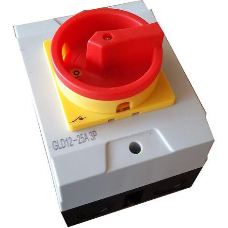 Caja con interruptor trifásico 25A (3 polos) mando amarillo-rojo