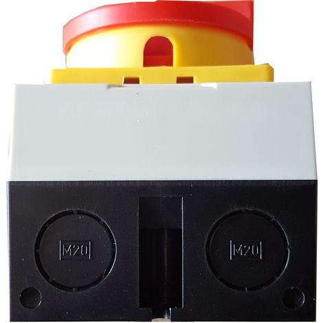 Caja con interruptor trifásico 32A (3 polos) mando amarillo-rojo