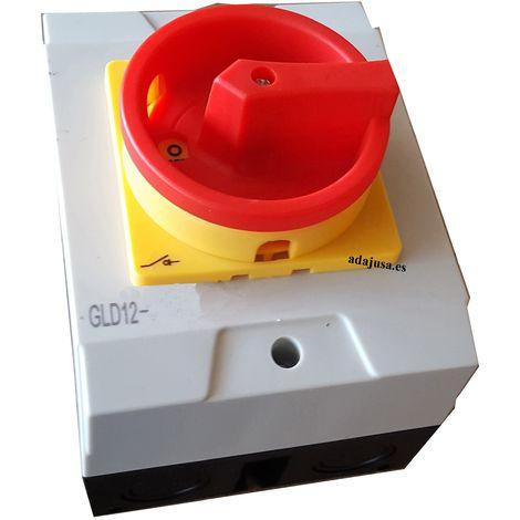Caja con interruptor trifásico 63A (4 polos) mando amarillo-rojo