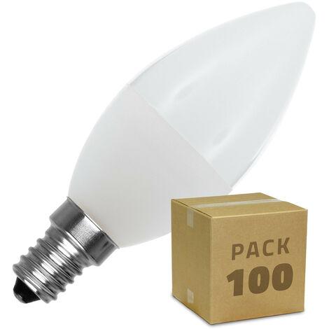 Caja de 100 Bombillas LED E14 Casquillo Fino C37 5W Blanco Neutro