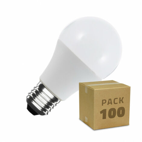 Caja de 100 Bombillas LED E27 Casquillo Gordo A60 7W Blanco Cálido