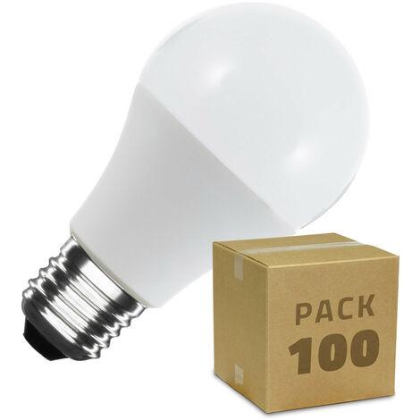 Caja de 100 Bombillas LED E27 Casquillo Gordo A60 7W Blanco Frío