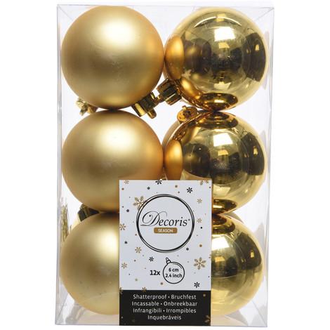 Caja De 12 Bolas Doradas Decorativas Para Arbol De Navidad - NEOFERR