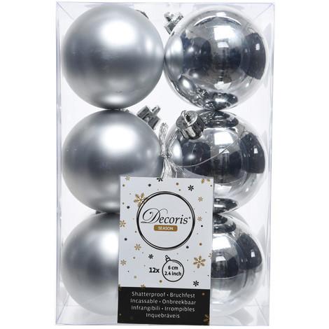 Caja De 12 Bolas Plata Decorativas Para Arbol De Navidad - NEOFERR