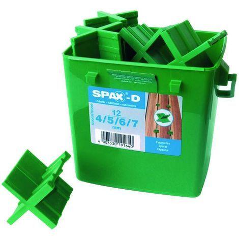 Caja de 12 separadores para lamina de terraza en 4, 5, 6 y 7 mm de separacion SPAX