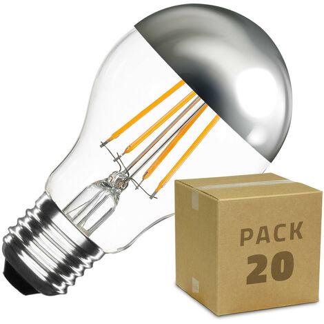 Caja de 20 Bombillas LED E27 Casquillo Gordo Regulable Filamento Chrome Reflect Classic A60 3.5W Blanco Cálido