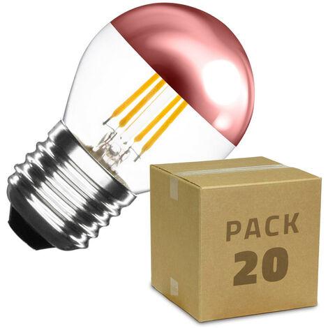 Caja de 20 Bombillas LED E27 Casquillo Gordo Regulable Filamento Copper Reflect Small Classic G45 4W Blanco Cálido