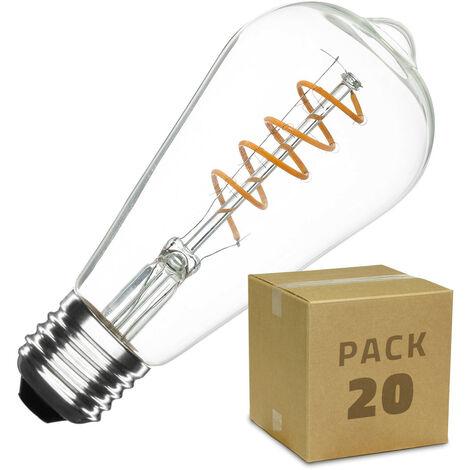 Caja de 20 Bombillas LED E27 Casquillo Gordo Regulable Filamento Espiral Big Lemon ST64 4W Blanco Cálido