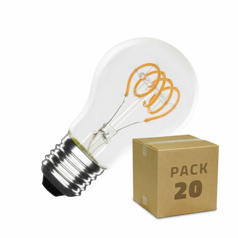 Caja de 20 Bombillas LED E27 Casquillo Gordo Regulable Filamento Espiral Classic A60 4W Blanco Cálido