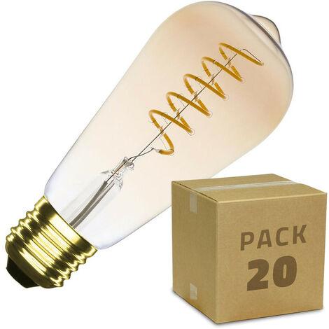 Caja de 20 Bombillas LED E27 Casquillo Gordo Regulable Filamento Espiral Gold Big Lemon ST64 4W Blanco Cálido