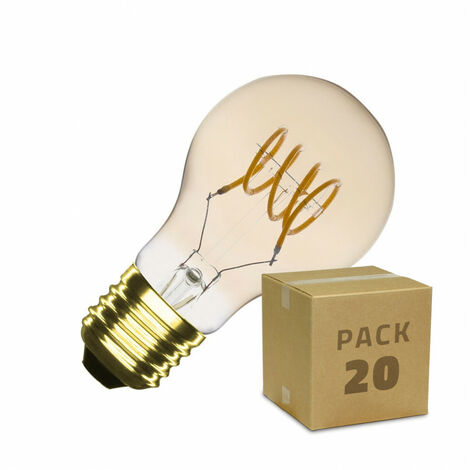 Caja de 20 Bombillas LED E27 Casquillo Gordo Regulable Filamento Espiral Gold Classic A60 4W Blanco Cálido