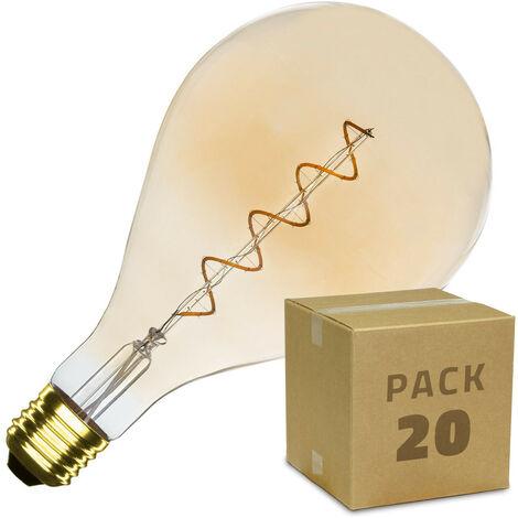 Caja de 20 Bombillas LED E27 Casquillo Gordo Regulable Filamento Espiral Gold PS165 4W Blanco Cálido