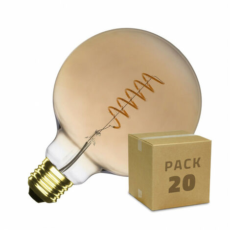 Caja de 20 Bombillas LED E27 Casquillo Gordo Regulable Filamento Espiral Gold Supreme G125 4W Blanco Cálido