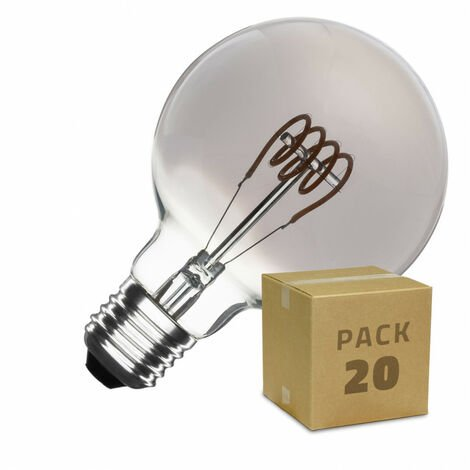 Caja de 20 Bombillas LED E27 Casquillo Gordo Regulable Filamento Espiral Smoke Planet G95 4W Blanco Cálido