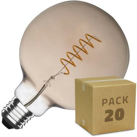 Caja de 20 Bombillas LED E27 Casquillo Gordo Regulable Filamento Espiral Smoke Supreme G125 4W Blanco Cálido