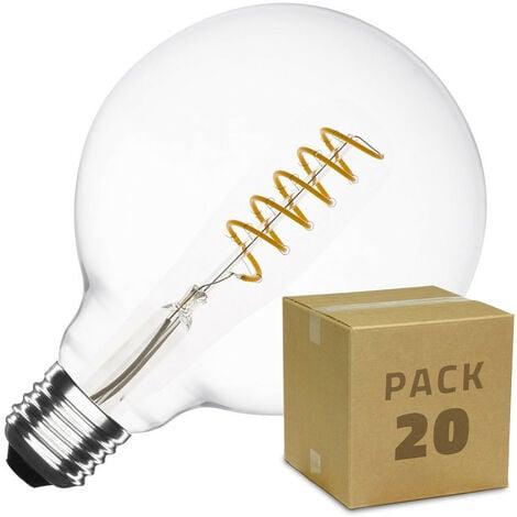 Caja de 20 Bombillas LED E27 Casquillo Gordo Regulable Filamento Espiral Supreme G125 4W Blanco Cálido