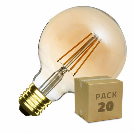 Caja de 20 Bombillas LED E27 Casquillo Gordo Regulable Filamento Gold Planet G95 6W Blanco Cálido