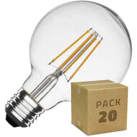 Caja de 20 Bombillas LED E27 Casquillo Gordo Regulable Filamento Planet G95 6W Blanco Cálido