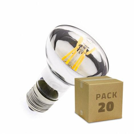 Caja de 20 Bombillas LED E27 Casquillo Gordo Regulable Filamento R63 3.5W Blanco Cálido