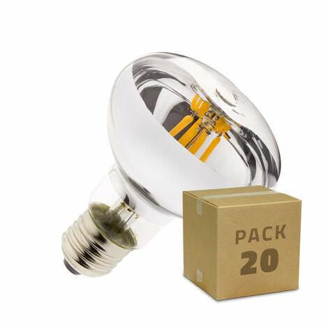 Caja de 20 Bombillas LED E27 Casquillo Gordo Regulable Filamento R80 6W Blanco Cálido