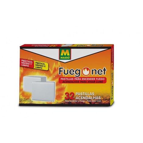 Caja de 32 pastillas de encendido FUEGONET para chimeneas, estufas, barbacoas,,,