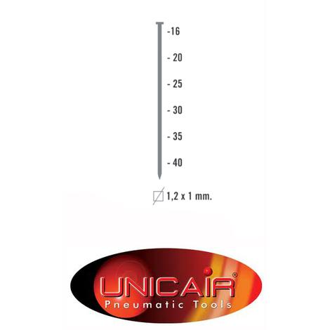 Caja de 5 millares de clavos 1.2 mm x 25 mm Unica
