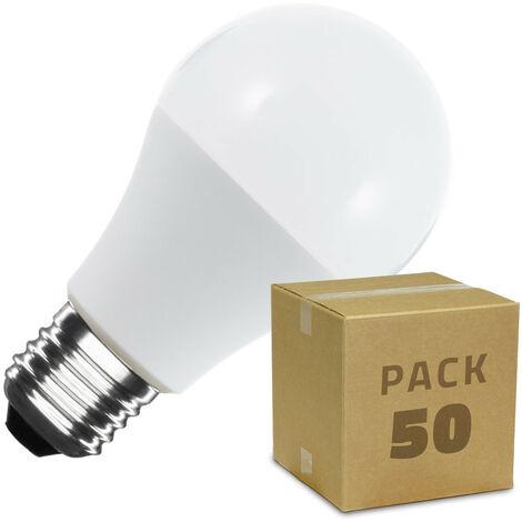 Caja de 50 Bombillas LED E27 Casquillo Gordo A60 7W Blanco Cálido