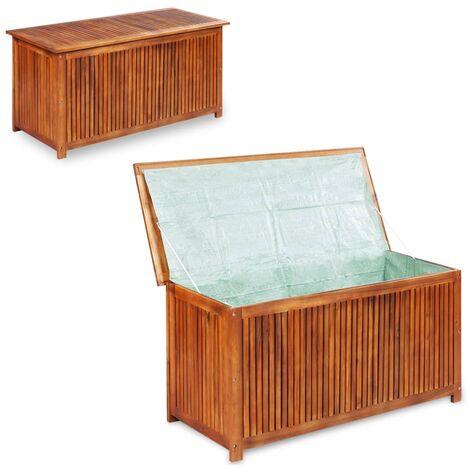 Caja de almacenaje de jardín 150x50x58 cm madera maciza acacia