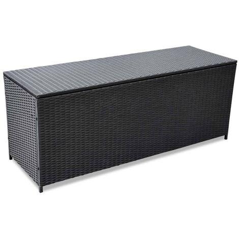 Caja de almacenaje de jardín ratán sintético negro 150x50x60 cm
