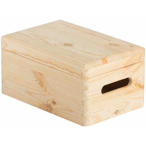 Caja de almacenaje de madera maciza de pino con tapa 14x30x20cm