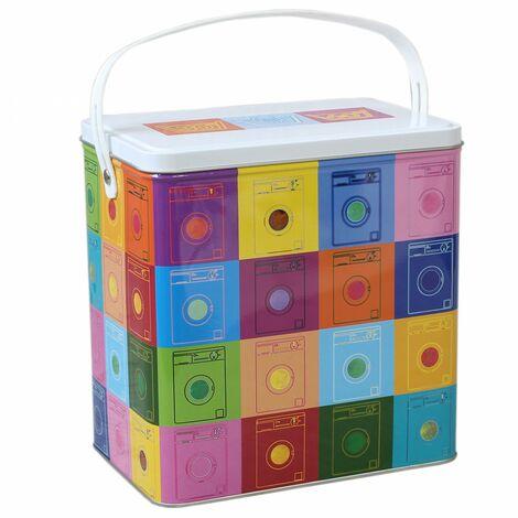 Caja de Almacenaje Decorativa con Tapa, de Metal, Multicolor. Diseño de Lavadoras, con estilo Original/Moderno - Hogar y Más