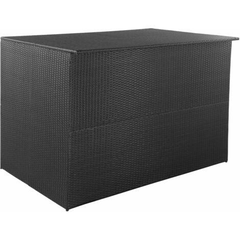 Caja de almacenaje jardín 150x100x100 cm ratán sintético negro - Negro