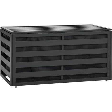 Caja de almacenaje jardin ratan sintetico antracita 100x50x50cm