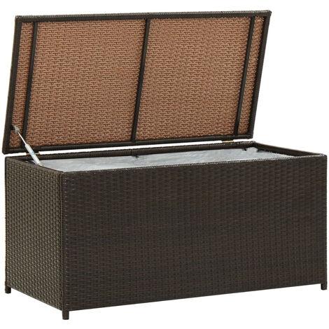 Caja de almacenaje jardin ratan sintetico marron 100x50x50 cm