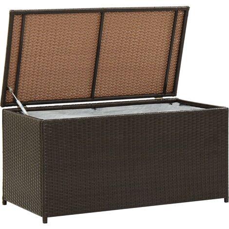 Caja de almacenaje jardín ratán sintético marrón 100x50x50 cm - Marrón