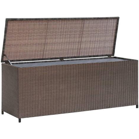 Caja de almacenaje jardin ratan sintetico marron 120x50x60 cm