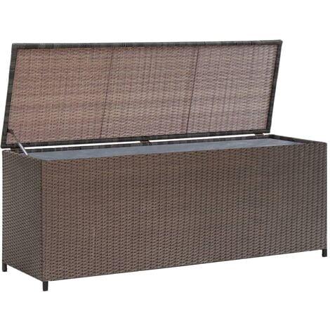 Caja de almacenaje jardín ratán sintético marrón 120x50x60 cm - Marrón