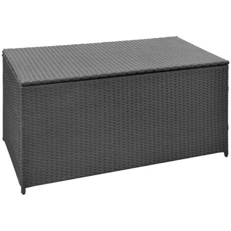 Caja de almacenaje jardín ratán sintético negro 120x50x60 cm - Negro