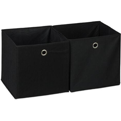 Caja de almacenaje, Set doble, Cuadrada, Cestas textiles, 30x30x30 cm, Negro