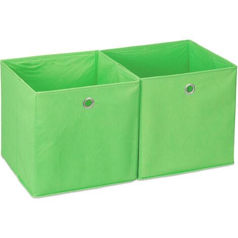 Caja de almacenaje, Set doble, Cuadrada, Cestas textiles, 30x30x30 cm, Verde